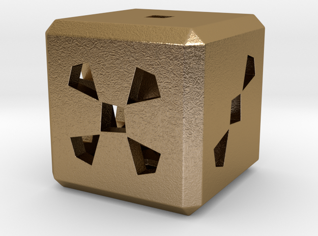 Dice No.3 M (balanced) (2.4cm/0.95in) in Polished Gold Steel