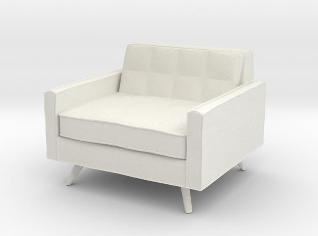 1:24 Mid-Century Square Chair in White Natural Versatile Plastic