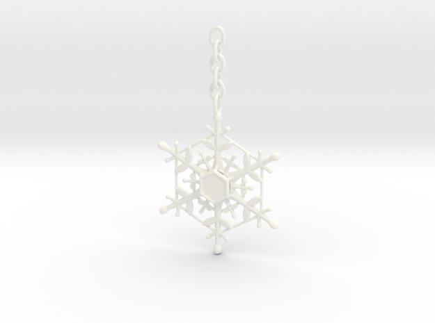 Snowflake Custom Initial Ornament in White Processed Versatile Plastic