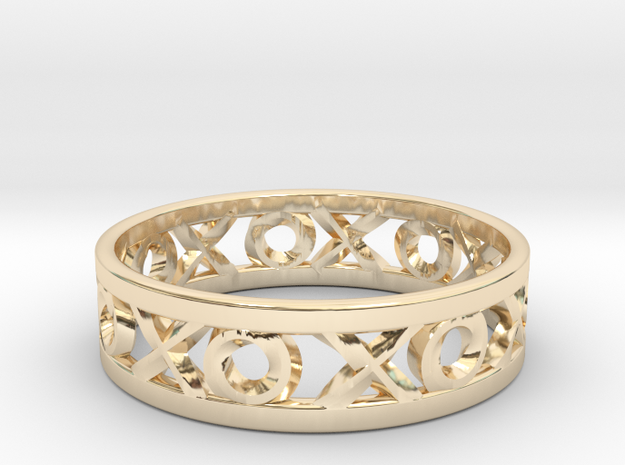 Size 13 Xoxo Ring in 14k Gold Plated Brass
