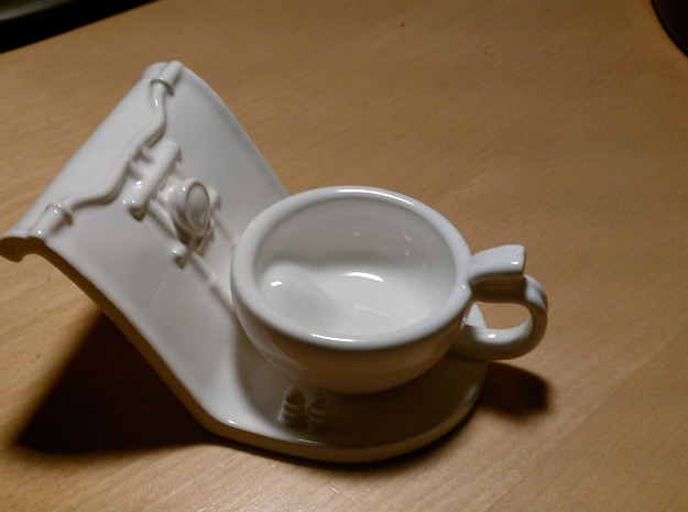 Harley Cup Holder - Part one of a two pieces set in White Strong & Flexible Polished
