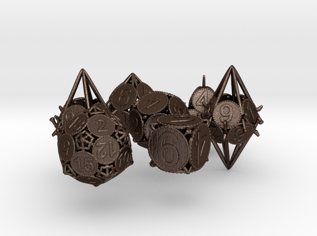 Swords and Shields D&D Dice set with Decader 3d printed