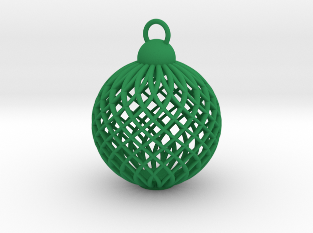 Cage Tree Bauble in Green Processed Versatile Plastic