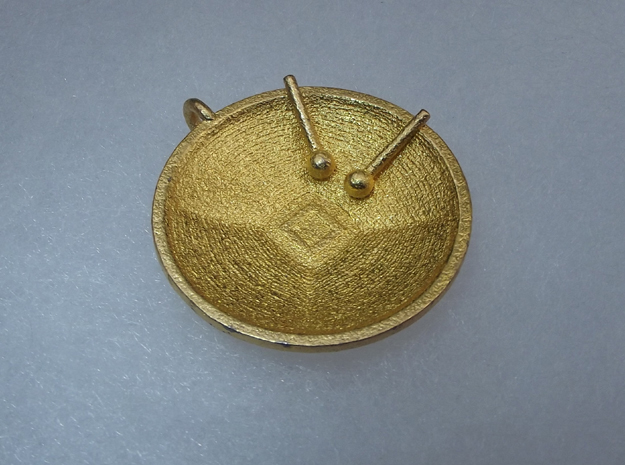 "Tenor Bass ""Surface"" steelpan pendant, M in Polished Gold Steel"