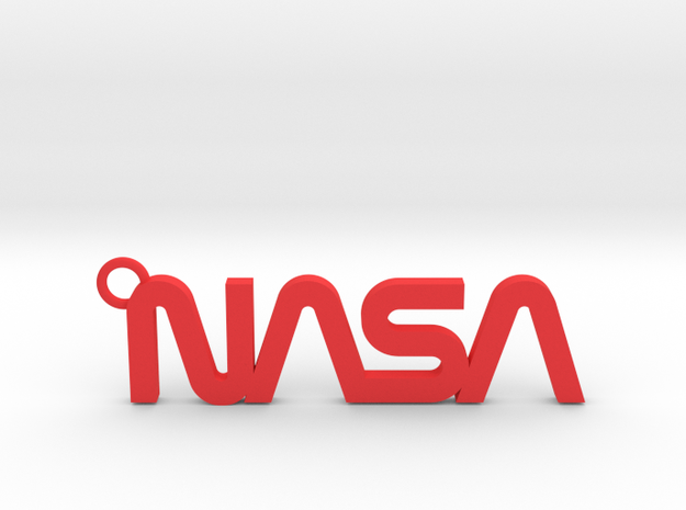 Nasa Keychain in Red Processed Versatile Plastic