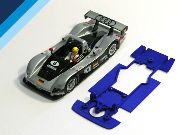 1/32 Carrera Audi R8R / Bentley Chassis in Blue Processed Versatile Plastic