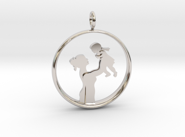 Mother & Daughter Pendant 1 -Motherhood Collection in Rhodium Plated