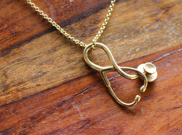 Stethoscope Pendant in 18k Gold Plated Brass
