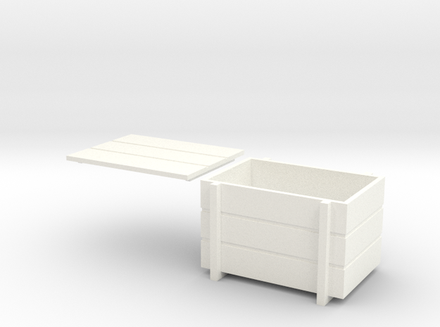 Wooden Crate With Lid 1/32 in White Strong & Flexible Polished