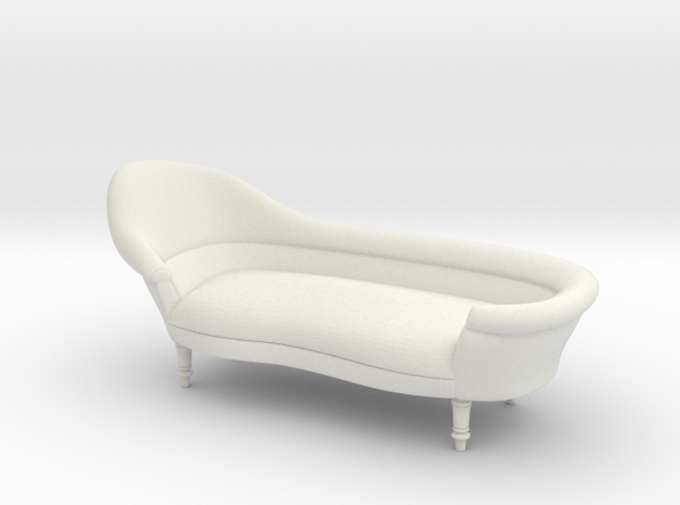 1:24 19th Century Victorian Chaise in White Natural Versatile Plastic