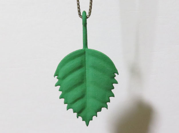 Birch Leaf Pendant in Green Strong & Flexible Polished