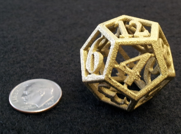 12 Sided Die in White Natural Versatile Plastic