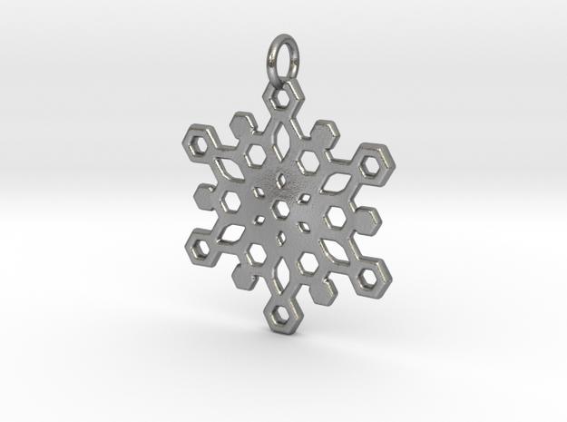 Snowflake Mandala Pendant in Raw Silver