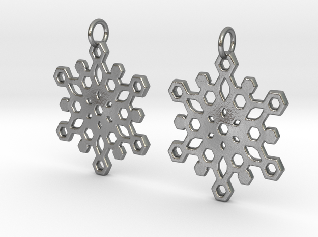 Snowflake Mandala Earrigs in Raw Silver