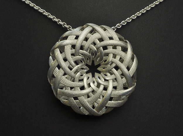 the Lotus Pendant  in Polished Silver