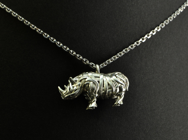 The Rhino Pendant  in Polished Brass