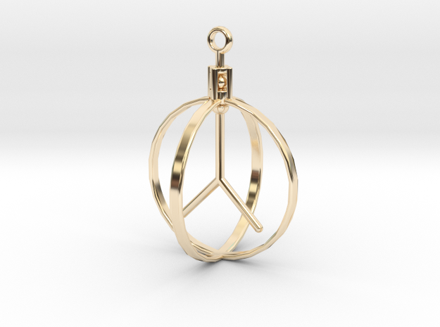Peace Pendant (Spinning center) in 14K Yellow Gold