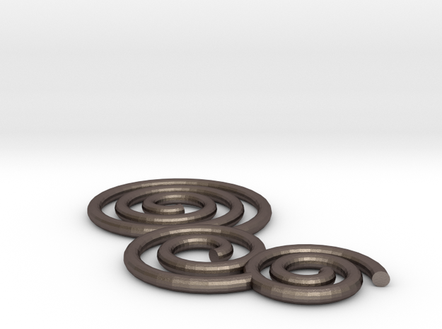 Holiday Ornamental Spirals in Polished Bronzed Silver Steel