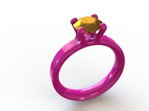 'Couture' Classic Four Claw Ring 3d printed Hot Pink ring 16mm inside diameter paired with a Gold Plated diamond sized to 1 carat