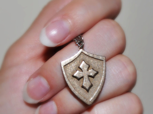 Cross Shield Pendant in White Natural Versatile Plastic