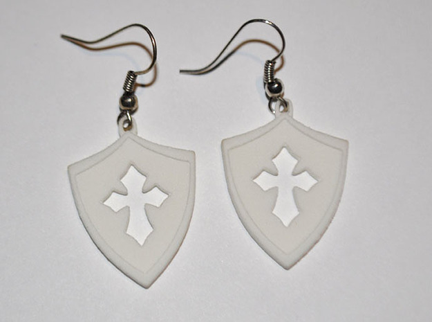 Shield Cross Cutout Pendant/Charm in White Natural Versatile Plastic