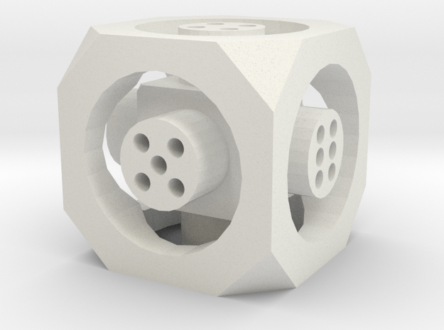 Floating Die (d6) in White Natural Versatile Plastic