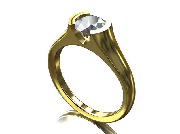 Solitaire Ring  6.5mm Round Center 3d printed