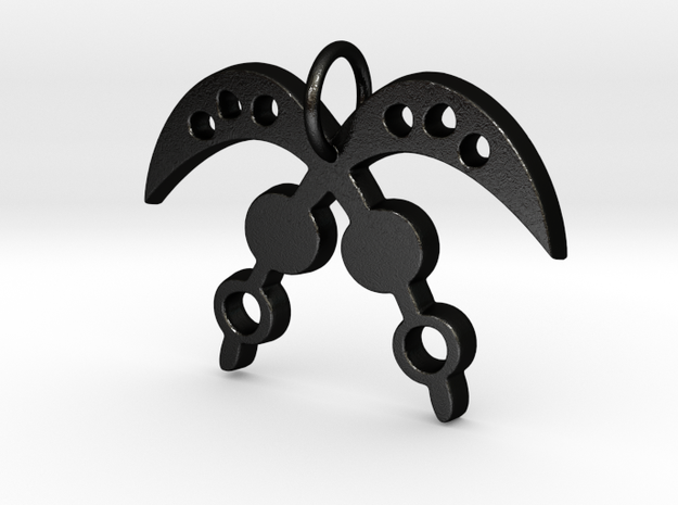 AKOFENA (Adinkra Symbol of Courage and Heroism) in Matte Black Steel