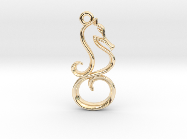 Tiny Seahorse Charm in 14k Gold Plated Brass