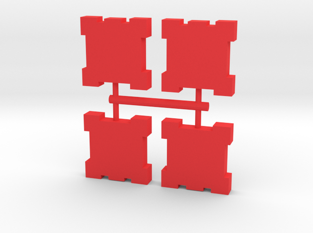Game Piece, Square Walls, 4-set in Red Processed Versatile Plastic