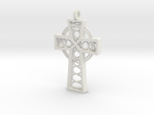 "Celtic Cross 2.25"" in White Natural Versatile Plastic"