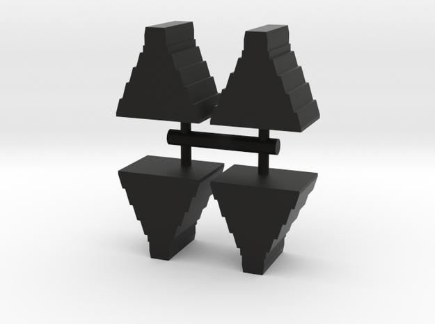 Mayan Temple Meeple, 4-set in Black Natural Versatile Plastic