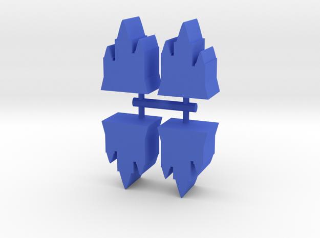 Game Piece, Castle Towers, 4-set in Blue Processed Versatile Plastic
