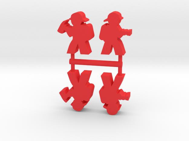 Firefighter Meeple, Various, 4-set in Red Processed Versatile Plastic