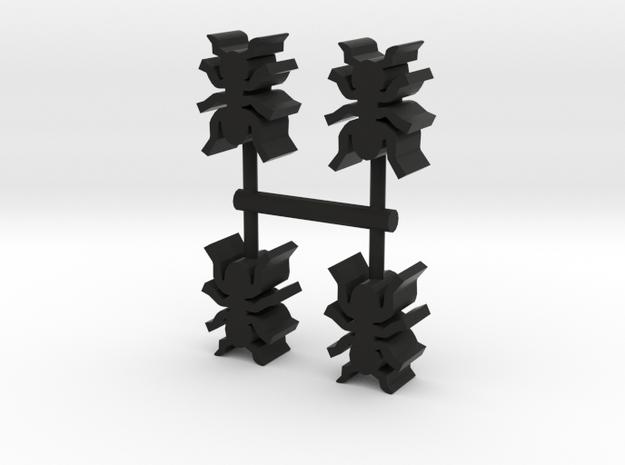 Game Piece, Ants 4-set in Black Natural Versatile Plastic