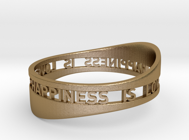 LOVE IS HAPPINESS IS LOVE - curved in Polished Gold Steel