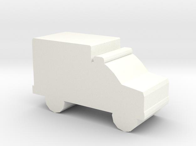 Game Piece, Ambulance in White Processed Versatile Plastic