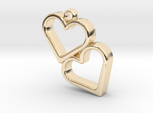 Double Heart in 14K Yellow Gold