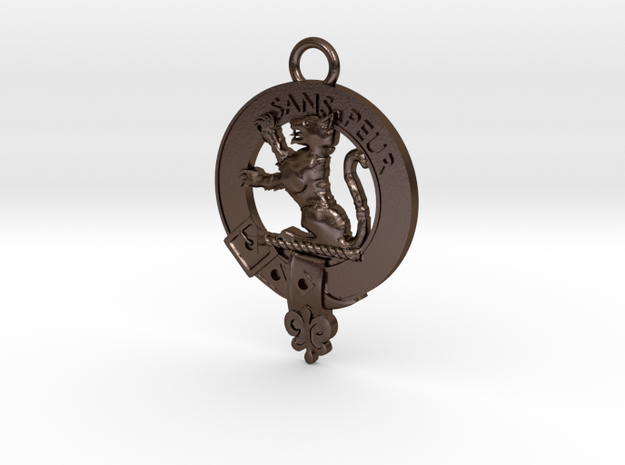 Sutherland Clan crest key fob in Polished Bronze Steel