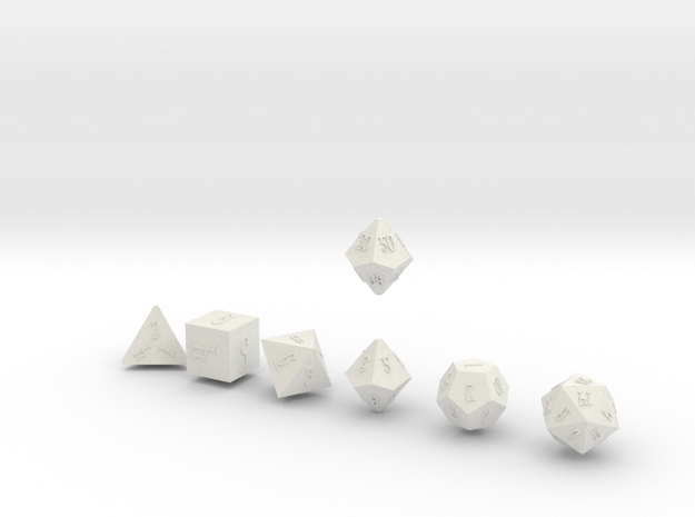 ELDRITCH SHARP Outies dice in White Natural Versatile Plastic