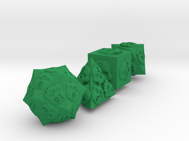 NECRON skull dice v2 d4 d6 d8 and d20 spiked 3d printed
