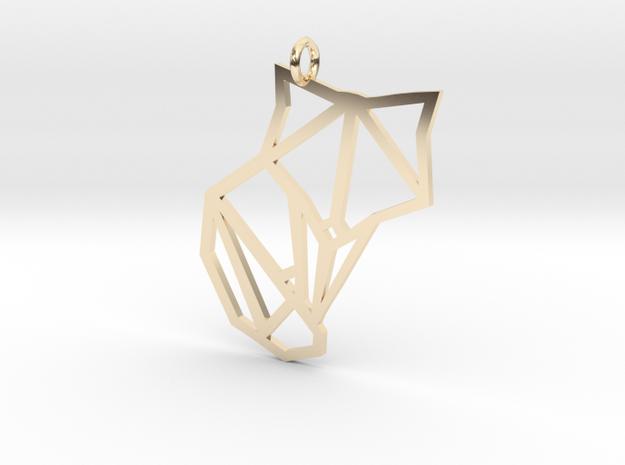 Origami Fox Pendant in 14K Gold