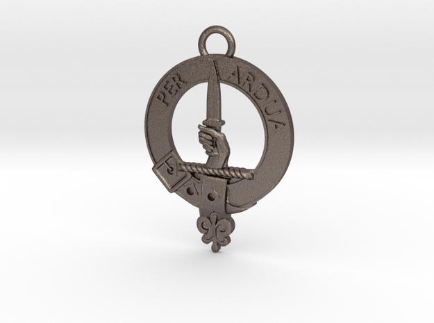 MacIntyre Clan Crest key fob in Polished Bronzed Silver Steel