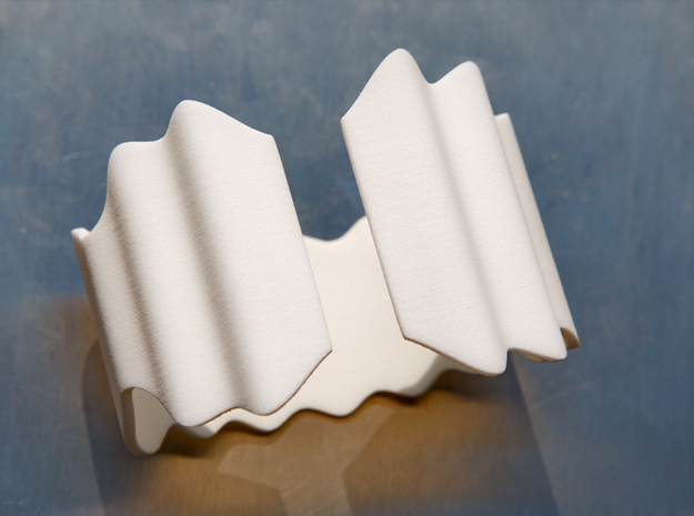 Wavy Bracelet or Napkin holder in White Natural Versatile Plastic