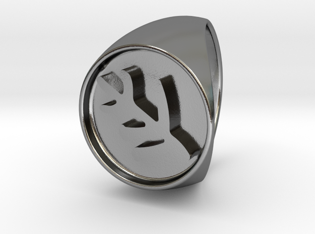 Classic Elder Sign Signet Ring Size 10 in Polished Silver