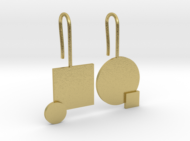 Carré et cercle Earrings in Natural Brass