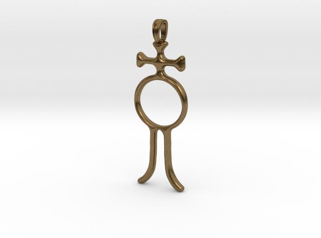 ALCHOOL Alchemy Symbol Jewelry Pendant in Natural Bronze