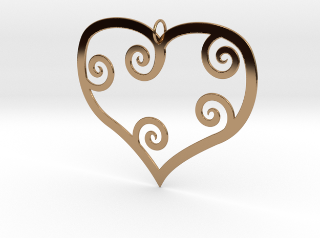 Heart Shaped Pendant in Polished Brass