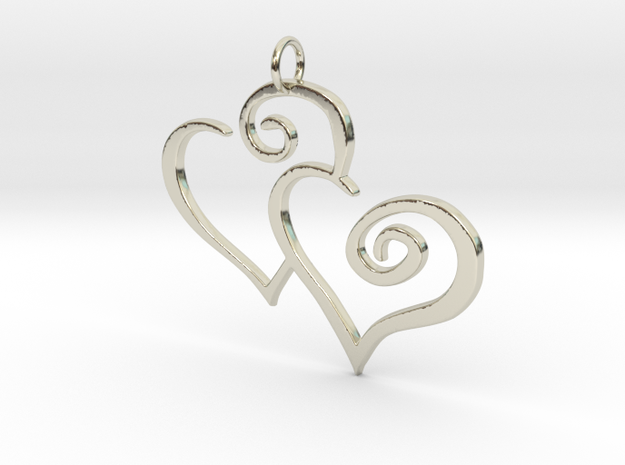 2-Heart Charm Pendant in 14k White Gold