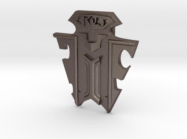 Klingon Emblem Badge in Polished Bronzed Silver Steel